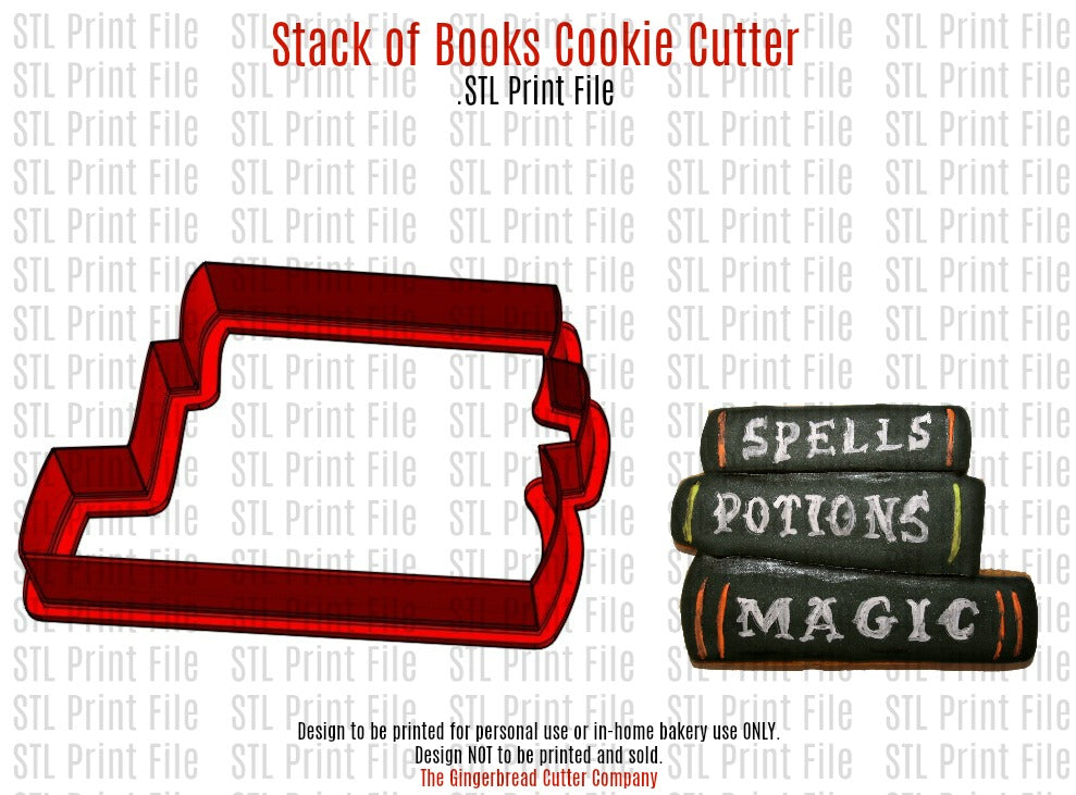 Stack of Books Cookie Cutter .STL Print File