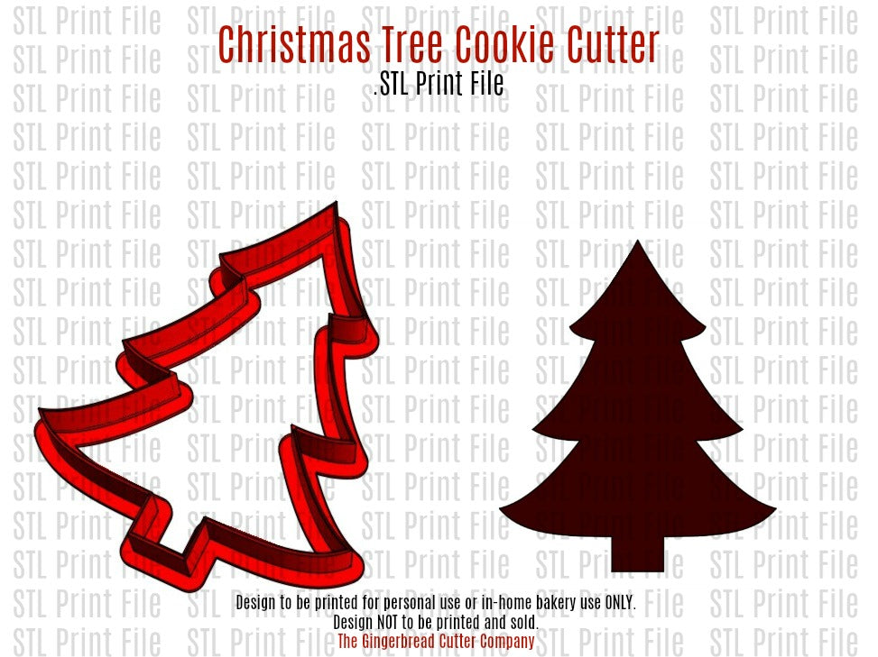 Christmas Tree Cookie Cutter 3D .STL Print File - 3 Sizes