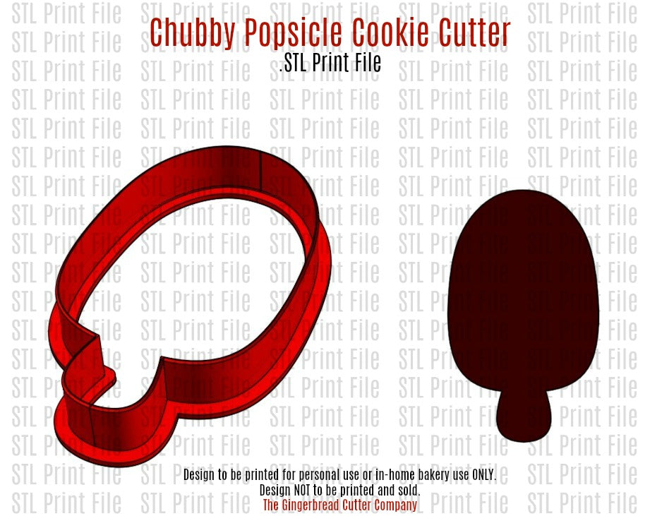 "4"" Chubby Popsicle Cookie Cutter 3D .STL Print File"