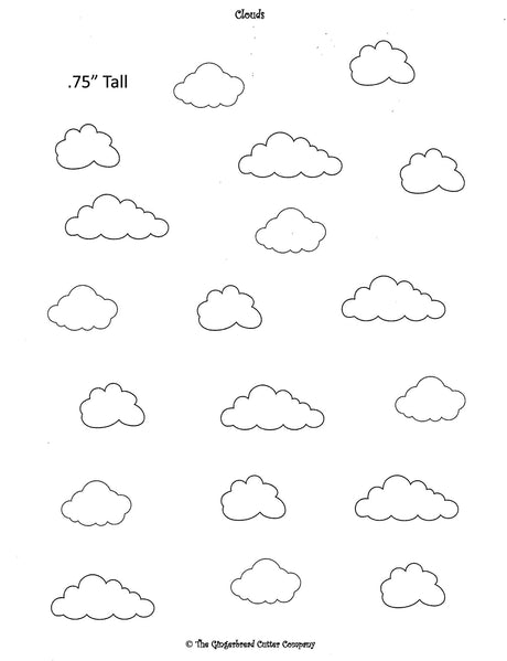Cloud Royal Icing Transfer Template