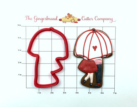 Kissing Couple Under Umbrella Cookie Cutter