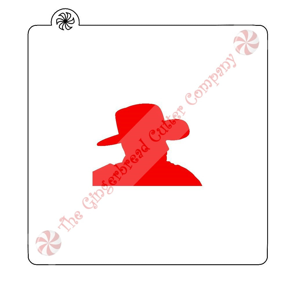 Cowboy Profile Cookie Stencil