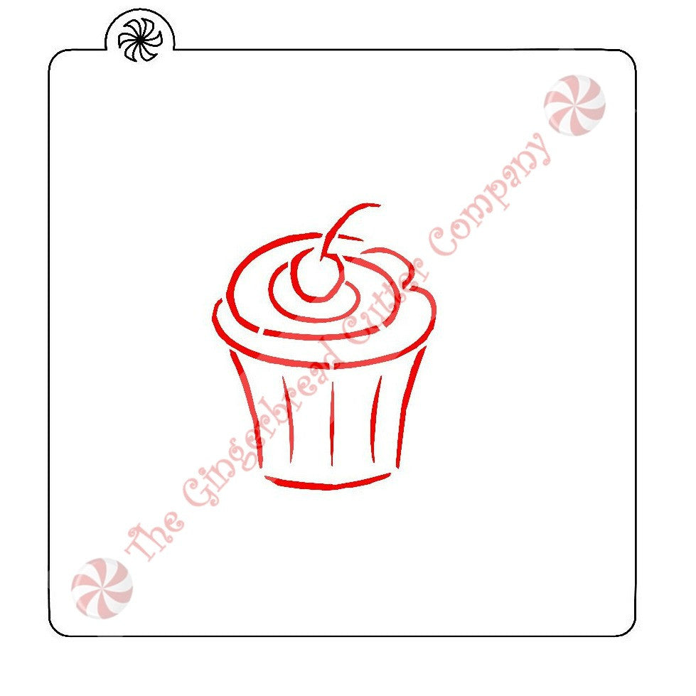 Cupcake with Cherry Cookie Stencil