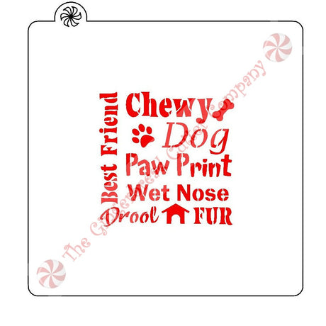 Dog Best Friend Word Block Cookie Stencil