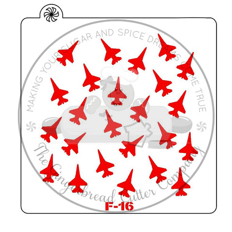 F-16 Fighting Falcon Background Cookie Stencil
