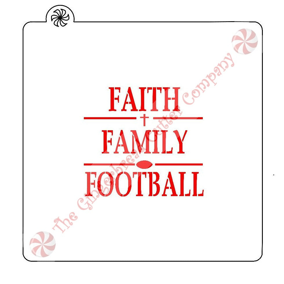 Faith Family Football Cookie Stencil