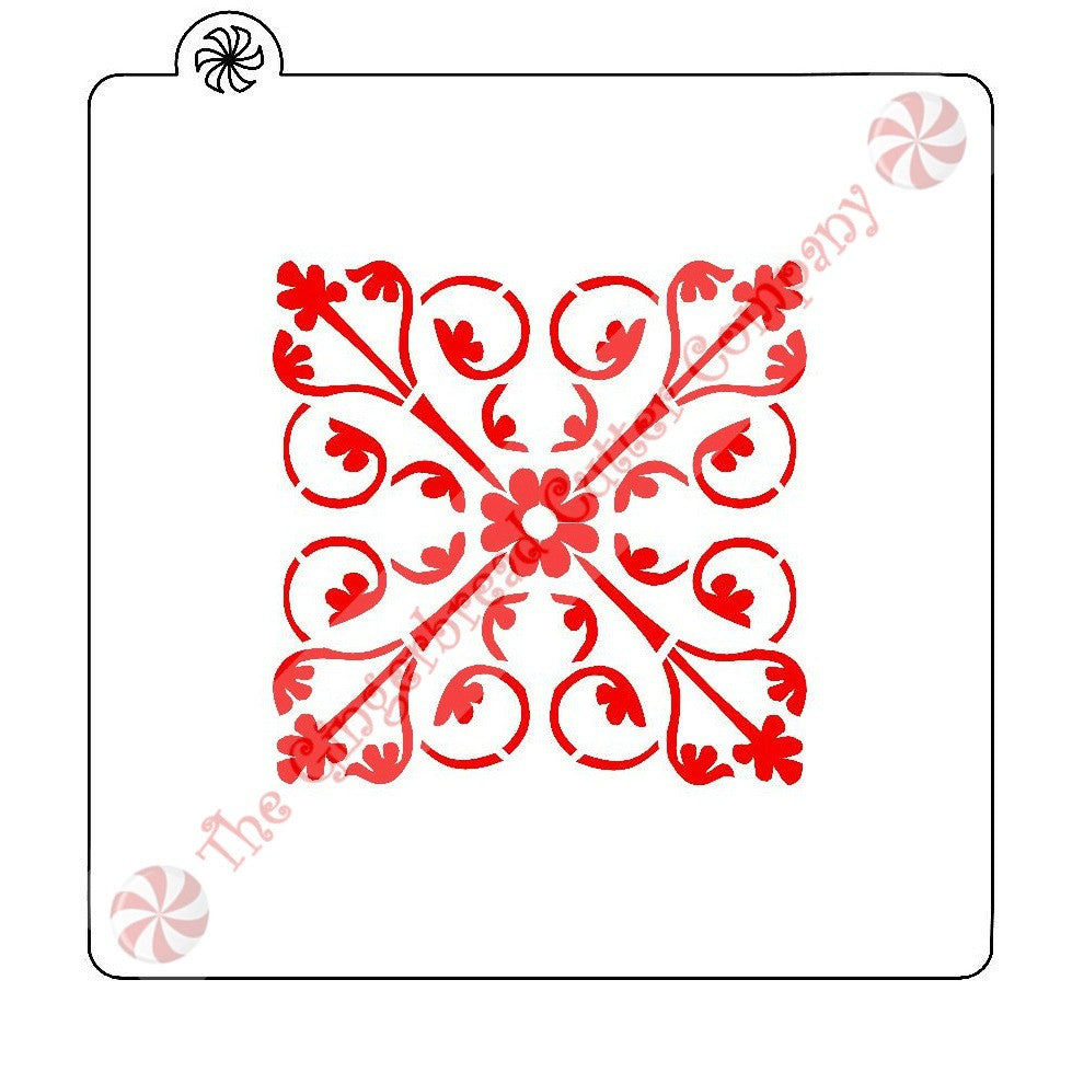 "Floral Tile 3.25"" Cookie Stencil"
