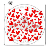 Funky Heart Background Cookie Stencil