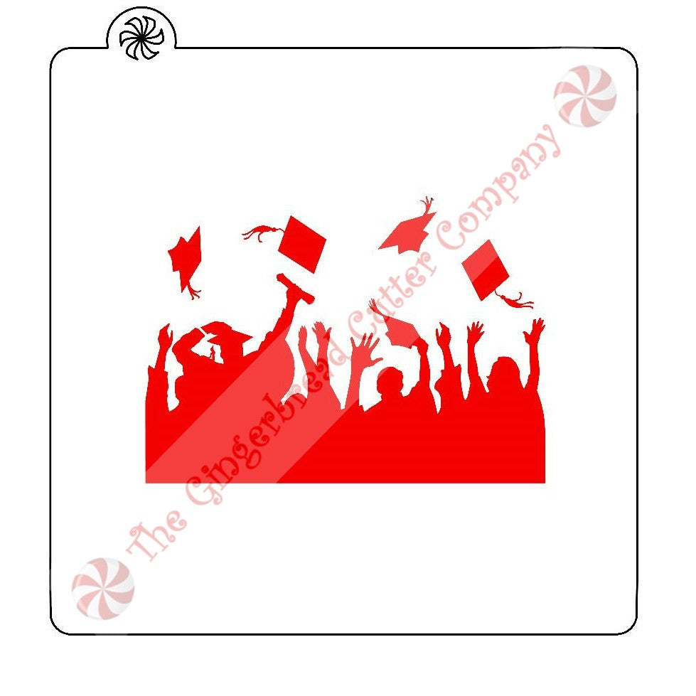 Graduation Hat Toss Cookie Stencil