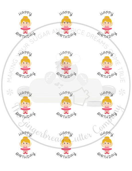 "Happy Birthday Pink Ballerina 2"" Round Bag Tag Digital File"
