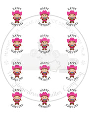 "Happy Birthday Cowgirl 2"" Round Bag Tag Digital File"