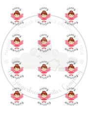 "Happy Birthday Pink Fairy 2"" Round Bag Tag Digital File"