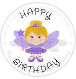 "Happy Birthday Purple Fairy 2"" Round Bag Tag Digital File"