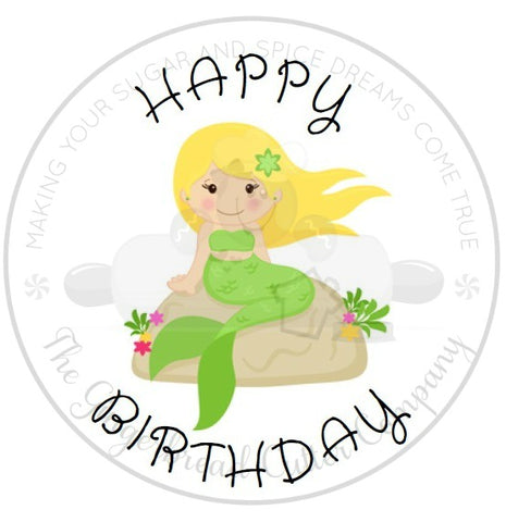"Happy Birthday Mermaid 2"" Round Bag Tag Digital File"