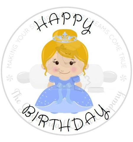 "Happy Birthday Blue Princess 2"" Round Bag Tag Digital File"