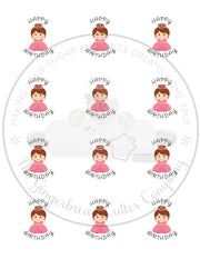 "Happy Birthday Pink Princess 2"" Round Bag Tag Digital File"