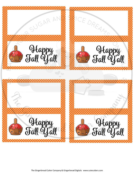 "Happy Fall Y'all with Caramel Apple 4""x 4"" Bag Topper Digital File"