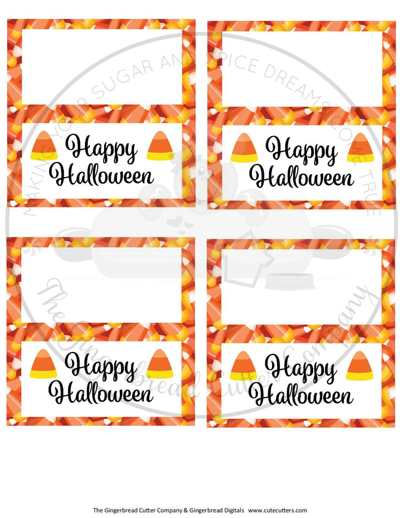 "Happy Halloween Candy Corn 4""x 4"" Bag Topper Digital File"
