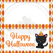 "Happy Halloween with Kawaii Cat 4""x 4"" Bag Topper Digital File"
