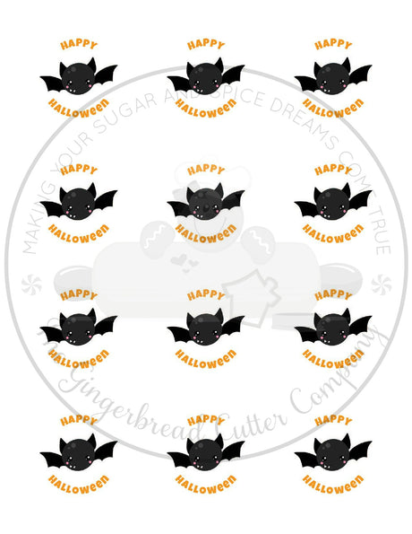 "Happy Halloween Kawaii Bat 2"" Round Bag Tag Digital File"