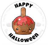 "Happy Halloween Caramel Apple 2"" Round Bag Tag Digital File"