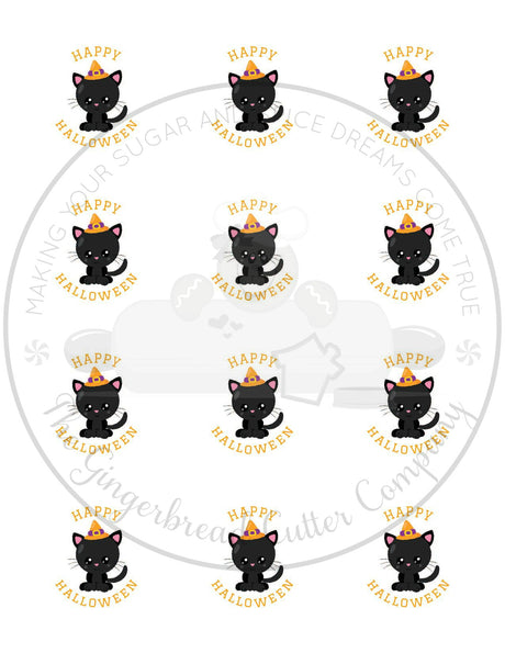 "Happy Halloween Kawaii Cat 2"" Round Bag Tag Digital File"