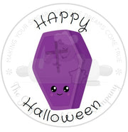 "Happy Halloween Kawaii Coffin 2"" Round Bag Tag Digital File"