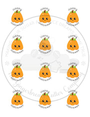 "Happy Halloween Kawaii Pumpkin 2"" Round Bag Tag Digital File"