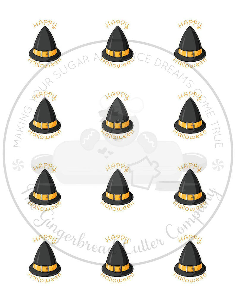 "Happy Halloween Witch Hat 2"" Round Bag Tag Digital File"