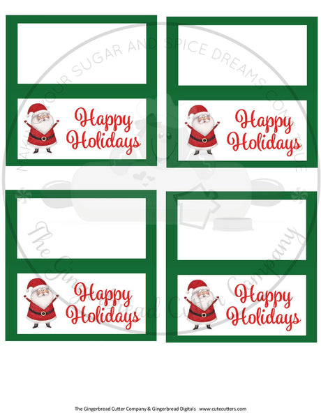 "Happy Holidays Santa with Green BG 4""x 4"" Bag Topper Digital File"