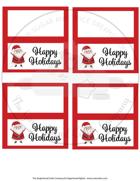 "Happy Holidays Santa with Red BG 4""x 4"" Bag Topper Digital File"