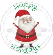 "Happy Holidays Santa 2"" Round Bag Tag Digital File"