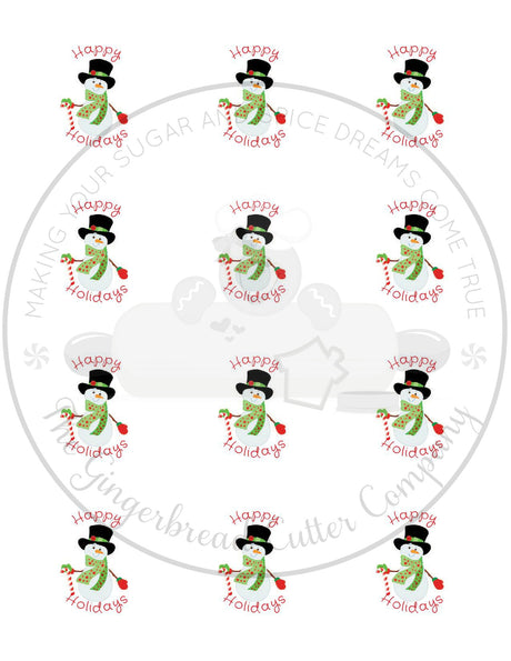 "Happy Holidays Snowman with Top Hat 2"" Round Bag Tag Digital File"