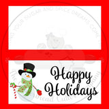 "Happy Holidays Snowman with Top Hat 4""x 4"" Bag Topper Digital File"