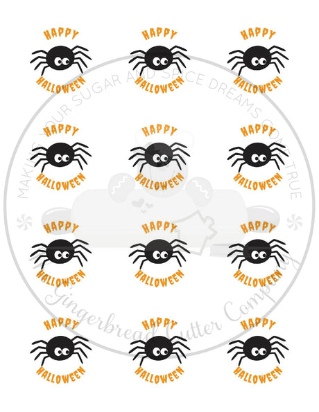 "Happy Halloween Spider 2"" Round Bag Tag Digital File"