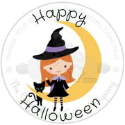 "Happy Halloween Witch on Moon 2"" Round Bag Tag Digital File"