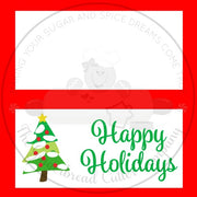 "Happy Holidays Christmas Tree 4""x 4"" Bag Topper Digital File"