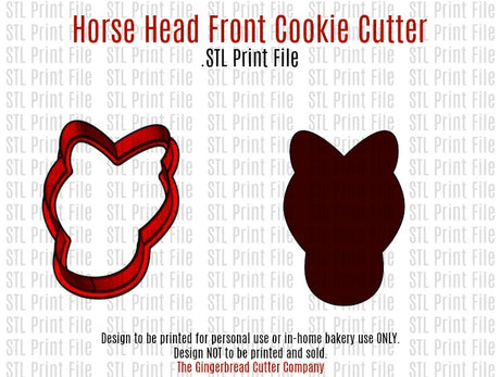 Horse Head Front Cookie Cutter .STL Print File