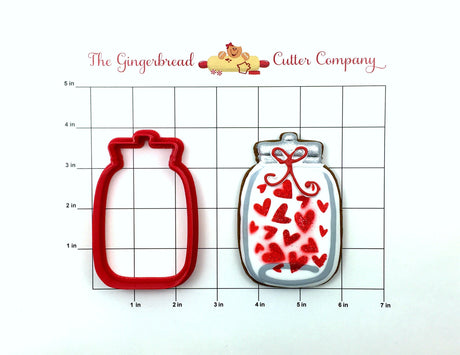 Jar of Hearts Cookie Cutter & Stencil