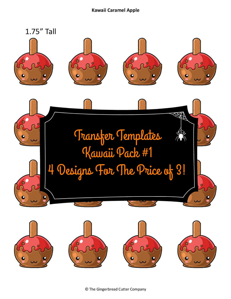 Kawaii Pack #1 Royal Icing Transfer Templates - 4 Designs For The Price of 3!