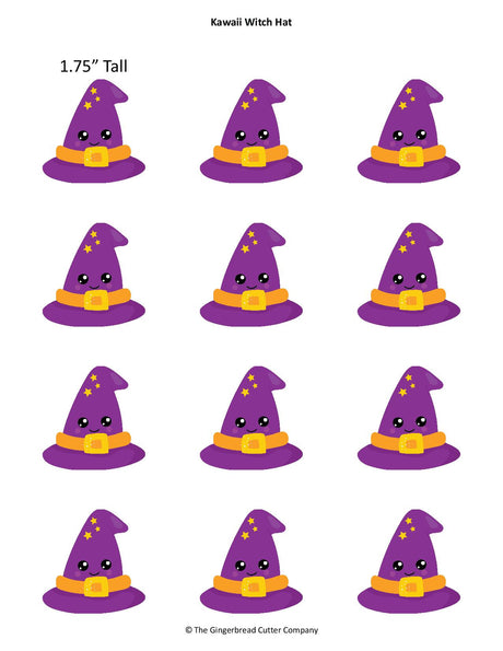 Kawaii Witch Hat Royal Icing Transfer Template