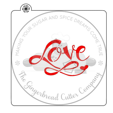 Love Script Lettering Cookie Cutter with Optional Stencil