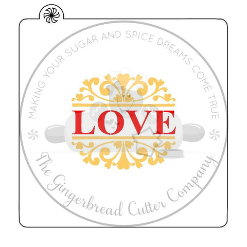Love With Damask Pattern Cookie Stencil-Single or 2-Part