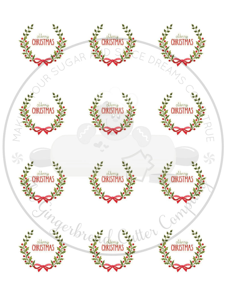 "Merry Christmas Holly Leaves with Bow 2"" Round Bag Tag Digital File"