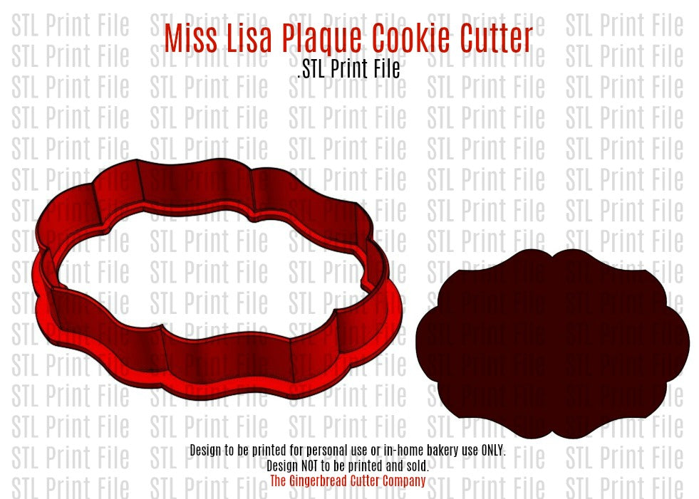 Miss Lisa Plaque Cookie Cutter .STL Print File
