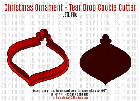 Christmas Ornament-Tear Drop Cookie Cutter .STL Print File