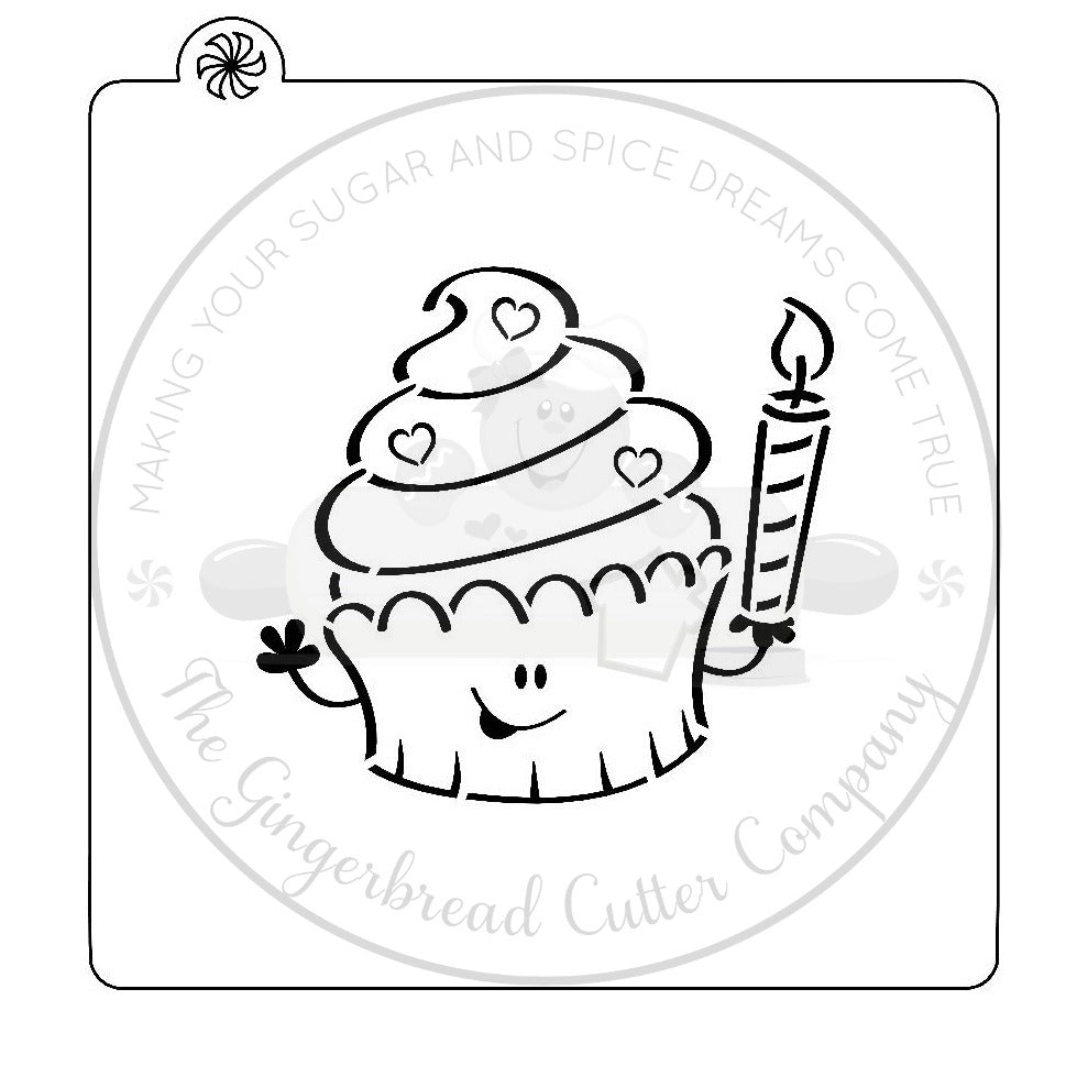 "PYO Stencil - Birthday Cupcake by ""Zee Will Draw"""