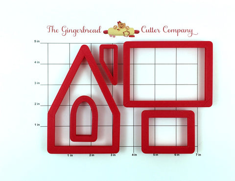 Gingerbread Peppermint Cottage Cookie Cutter Set