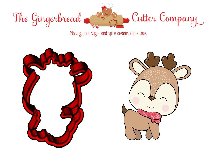 Reindeer with Scarf Cookie Cutter