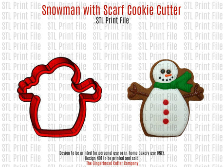 Snowman with Scarf Cookie Cutter .STL Print File